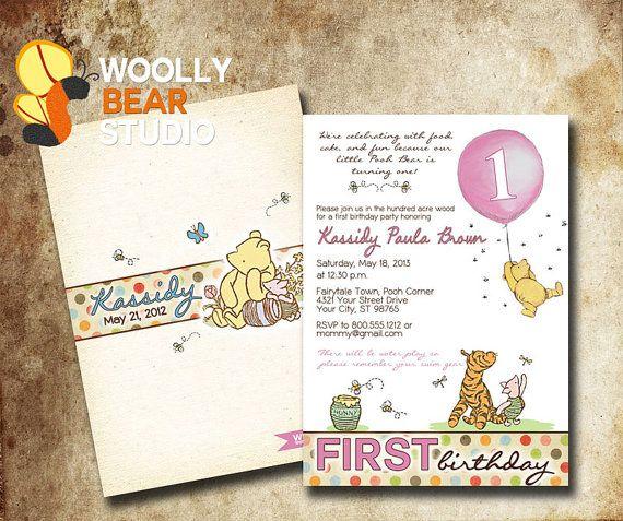 9d6f6209c18882dc32376a93fa16c48a printable classic winnie the pooh birthday by woollybearstudio,Vintage Winnie The Pooh Invitations