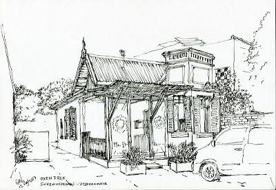 Caffee Oxen Free Sosrowijayan Street Yogyakarta Indonesia By Gunawan Wibisono World Best Photos Urban Sketchers Ink Pen Drawings