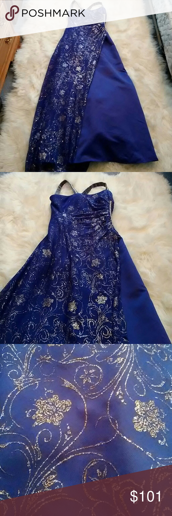 Blue sparkly prom dress sparkly prom dresses white stain and ball