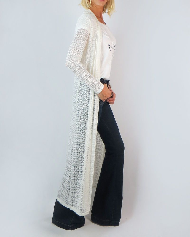 Ivory maxi duster long sleeve crochet open cardigan knit boho ...