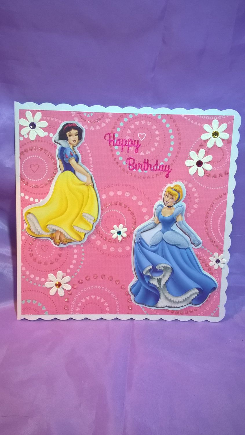 large Disney princesses' birthday card for all little