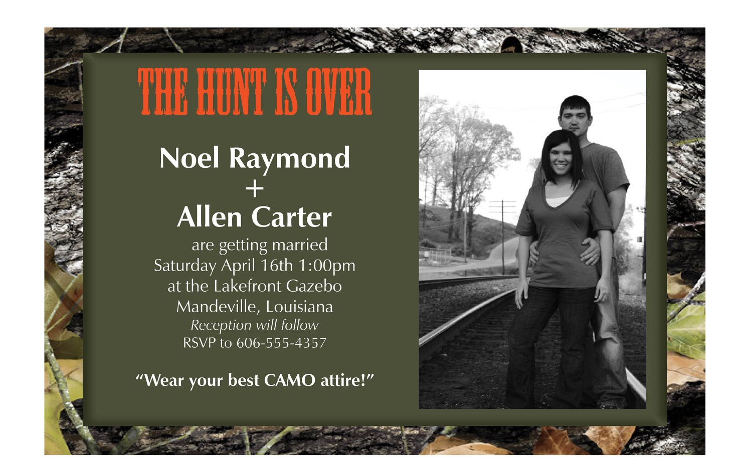YOUR PICTURE Mossy Camo Hunting Orange Wedding invitations ...