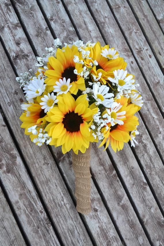 Sunflower Daisy Wedding Bouquet, Silk Wedding Flowers, Rustic Wedding, Sunflower...