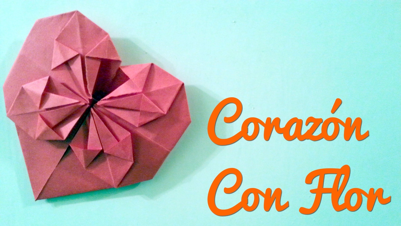 Corazon Con Flor Manualidades Para El 14 De Febrero Origami - Origami-corazn