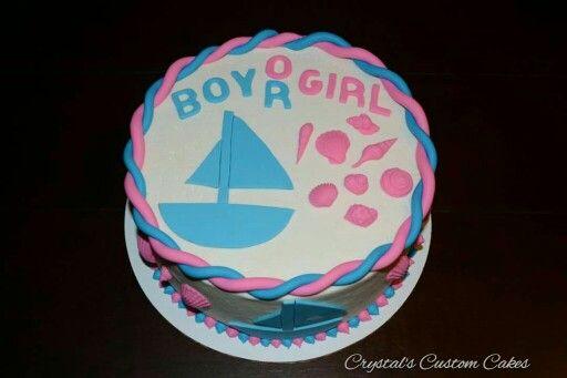 Sailboat or sea shells gender reveal cake