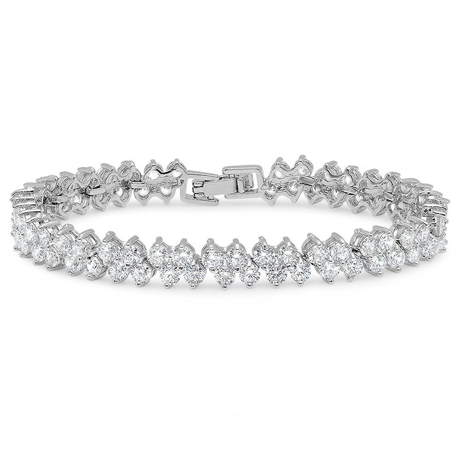Steeltime womenus k white gold plated cz cluster tennis bracelet