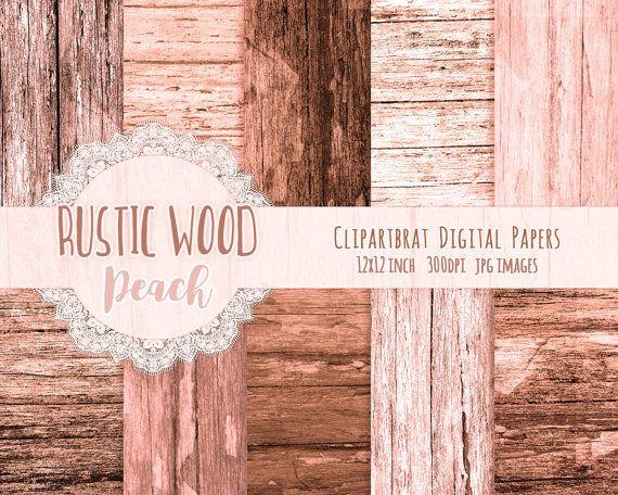 Rustic Peach Wood Digital Paper Pack Brown Tree Bark