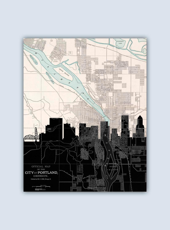 Portland Skyline, Personalized Skyline Print, Portland Decor, Portland Poster, Portland Map, Portland Wall Art, Portland Oregon by GeographicArt on Etsy