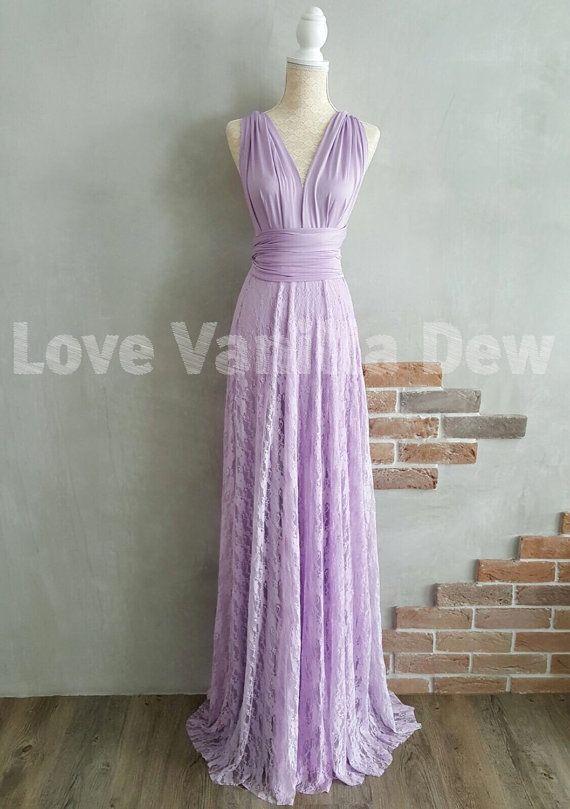 Bridesmaid Dress Infinity Dress Lilac Lace Floor Length Maxi Wrap