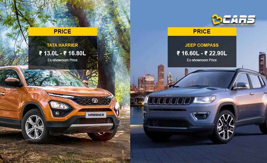 Tata Harrier Vs Jeep Compass Premium Suv Specs Comparison Jeep