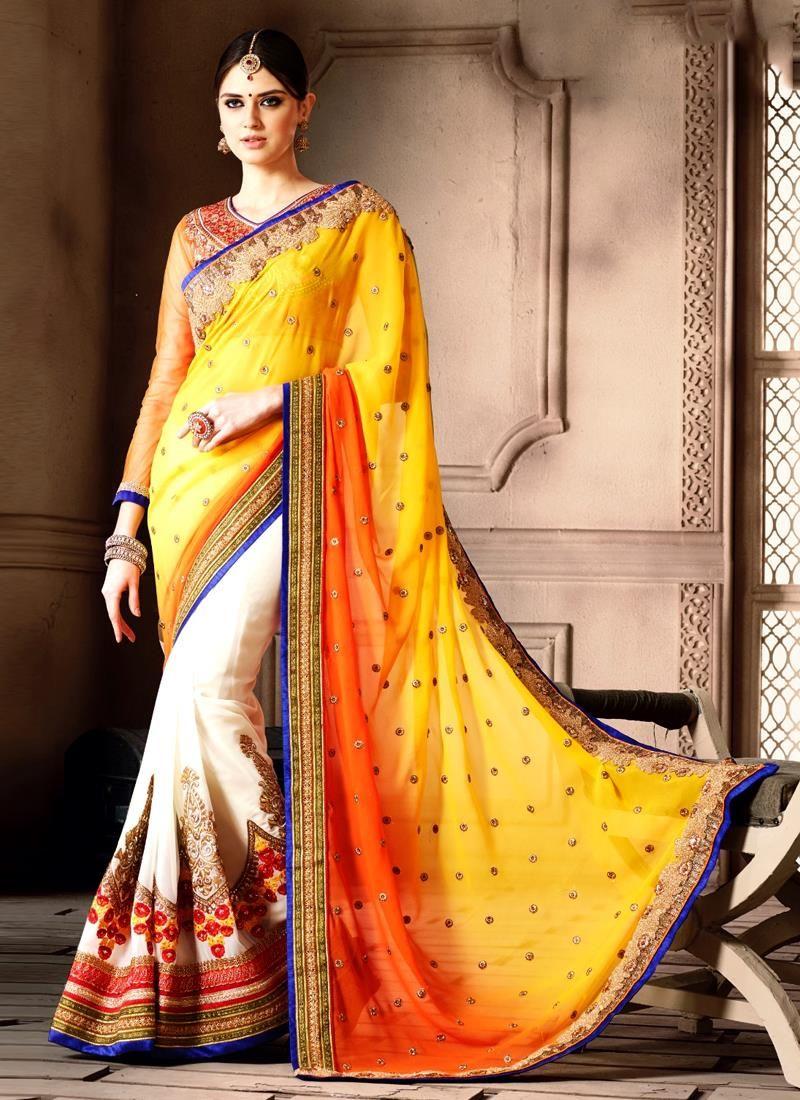 Capricious embroidered work designer saree designer sarees