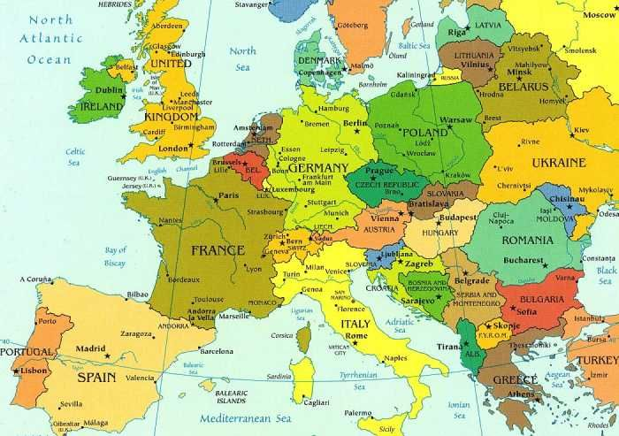 A Detailed Map Of Europe The Countries In Different Colors And The Main Cities Named Europe Map European Road Trip Europe Travel