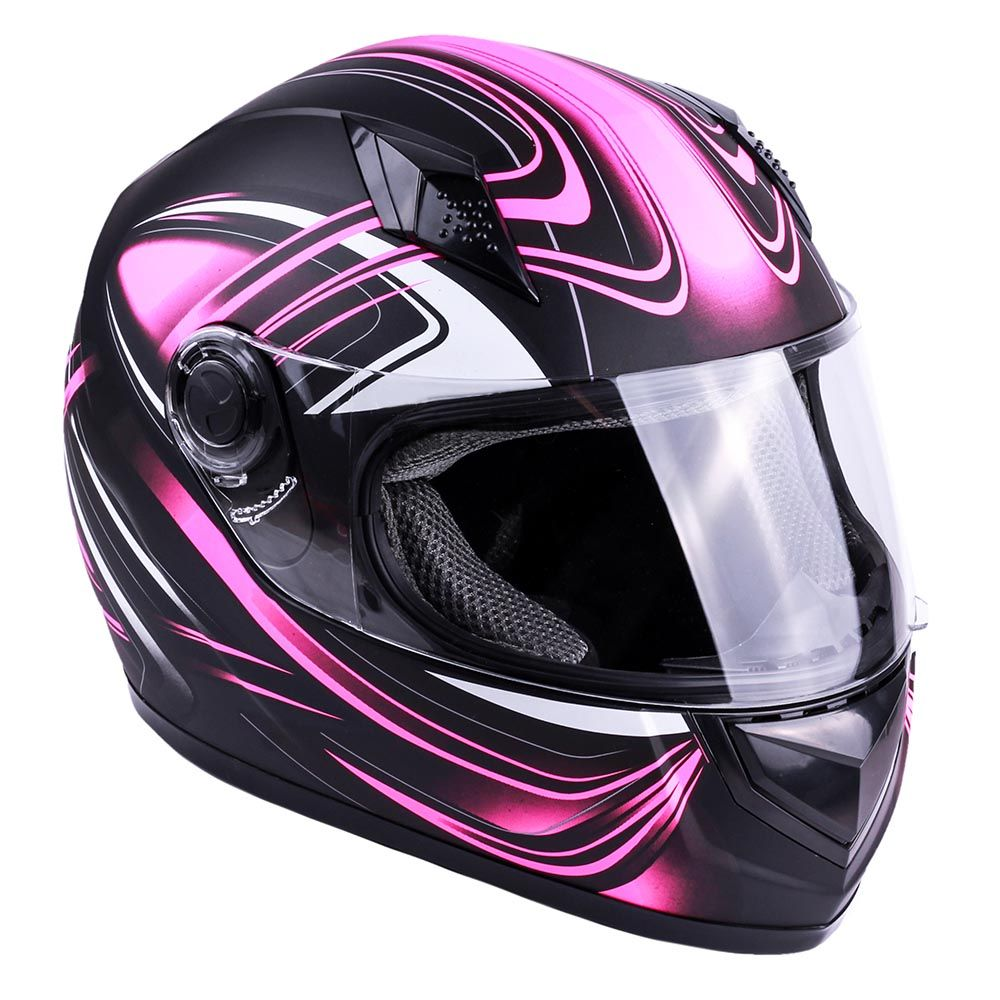 Pink and black full face motorcycle helmets for women from