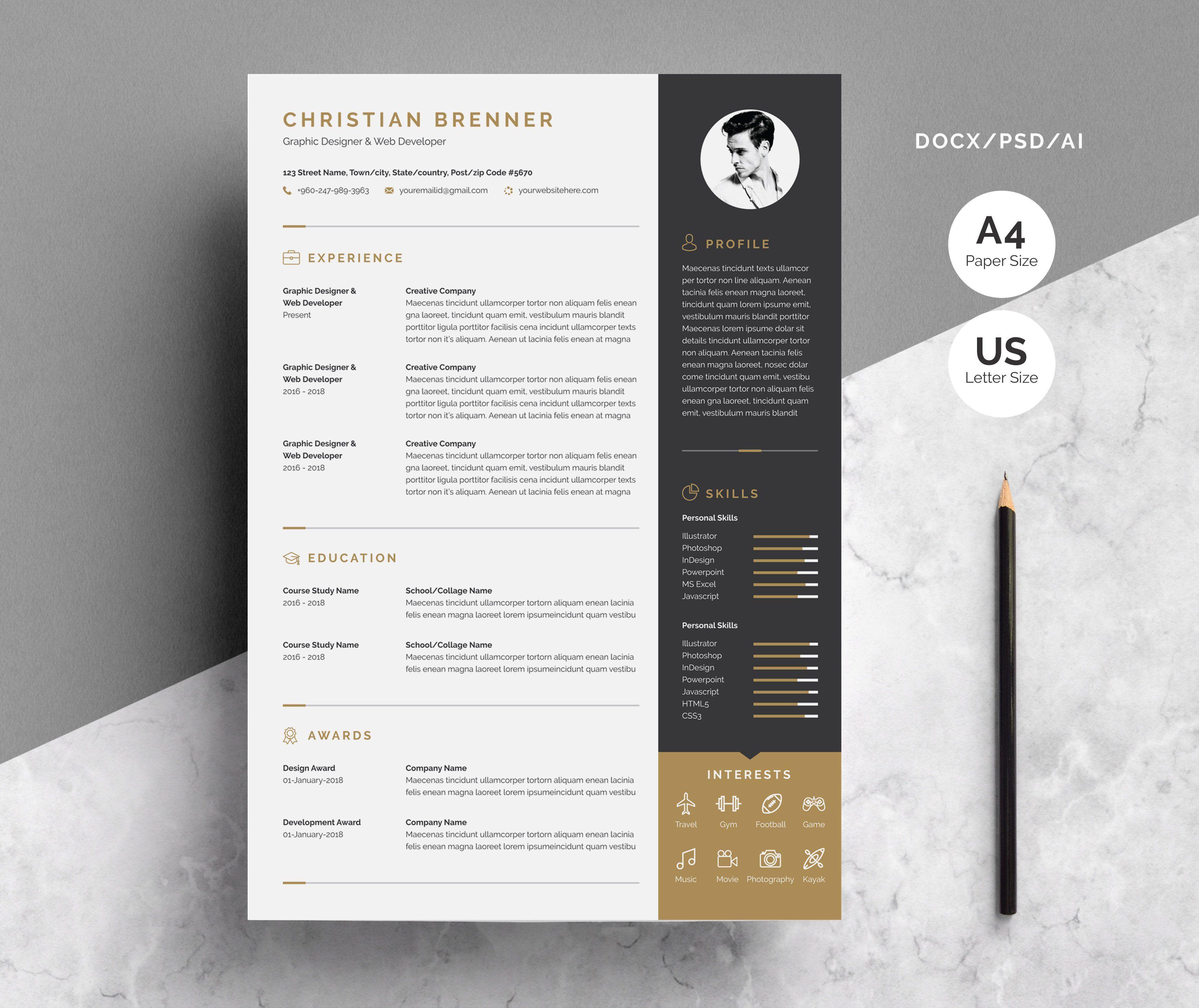 Resume Cv Template Cv Template Resume Cv One Page Resume
