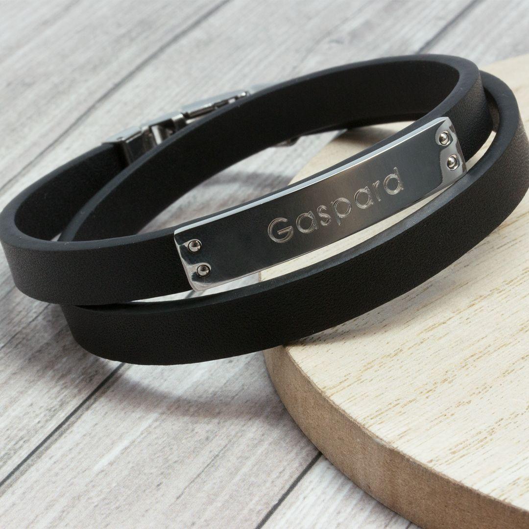 bracelet cuir homme gravure