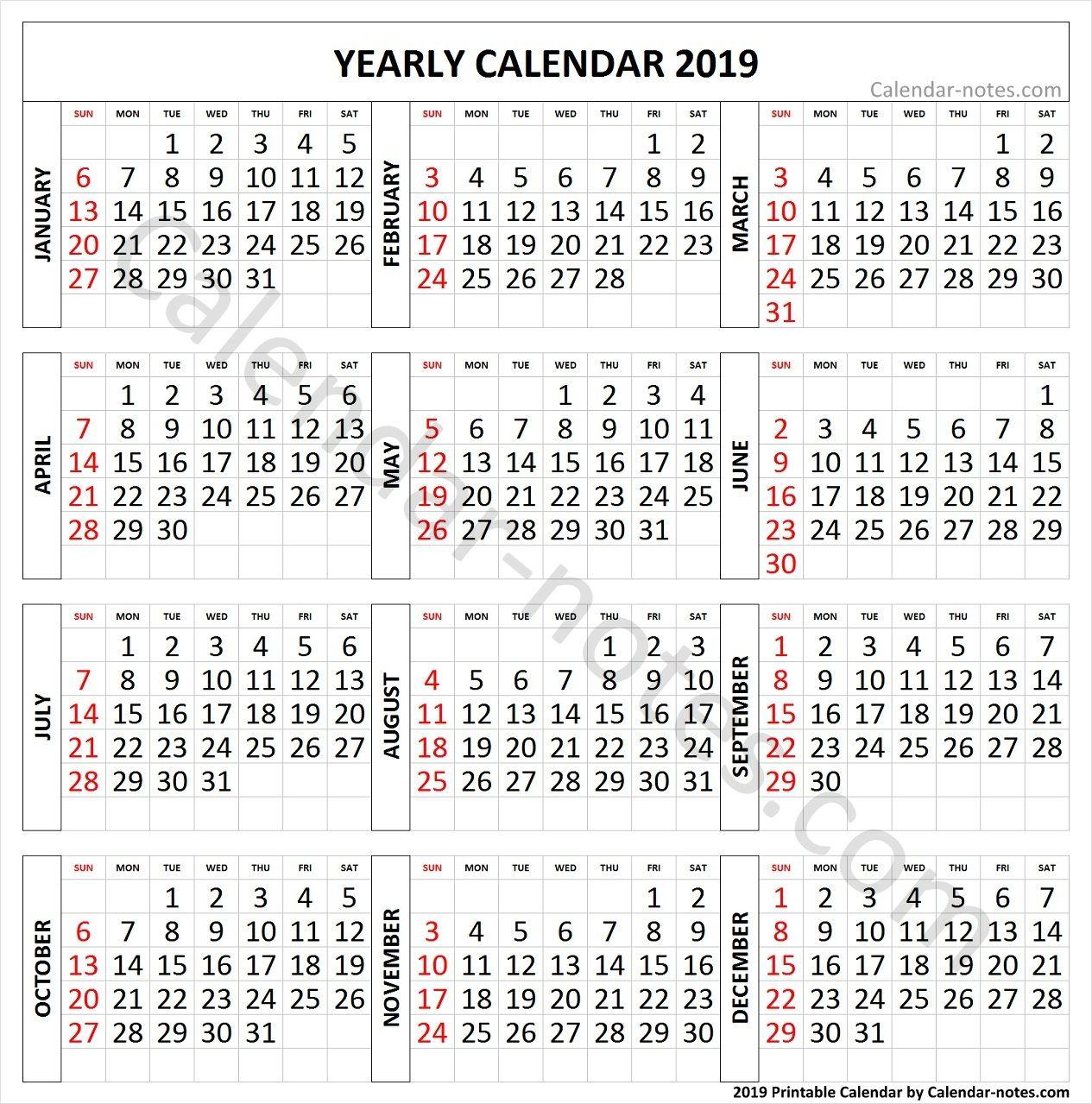 2019 Calendar Large Numbers Yearly Calendar 2019 Pinterest