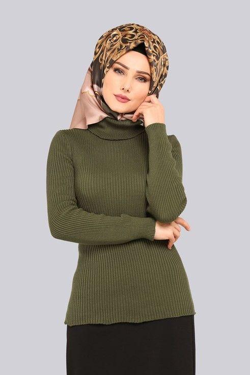 Modaselvim Tunik Bogazli Triko Kazak 3135af356 Haki Islami Moda Moda Stilleri Musluman Modasi