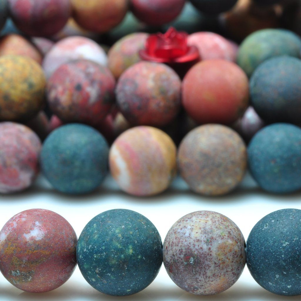 Natural Ocean Agate Matte Round Beads Gemstone 8mm 10mm 15 Gemstone Beads Round Beads Gemstones
