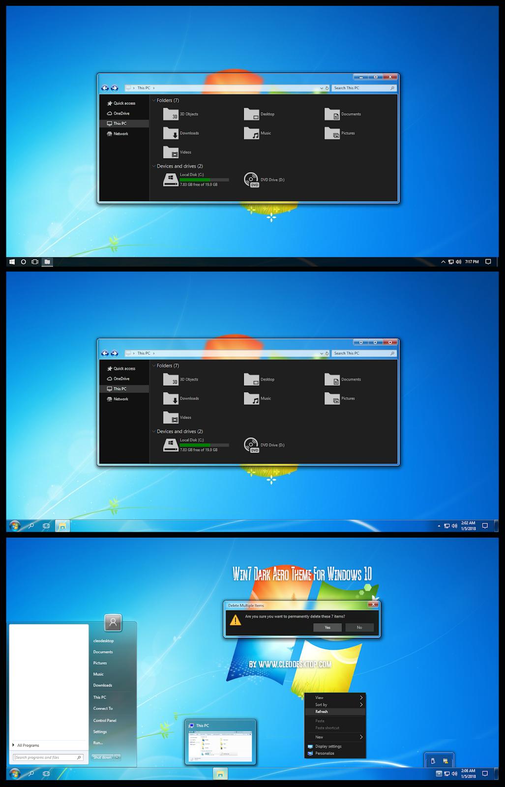 Windows 7 Dark Aero Theme Windows10 November 2019 Update 1909 Cleodesktop I Customized Desktop Windows Theme Dark