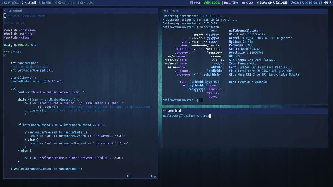 Enjoying my new i3 setup on my laptop  #i3 #linux #i3wm #i3linux