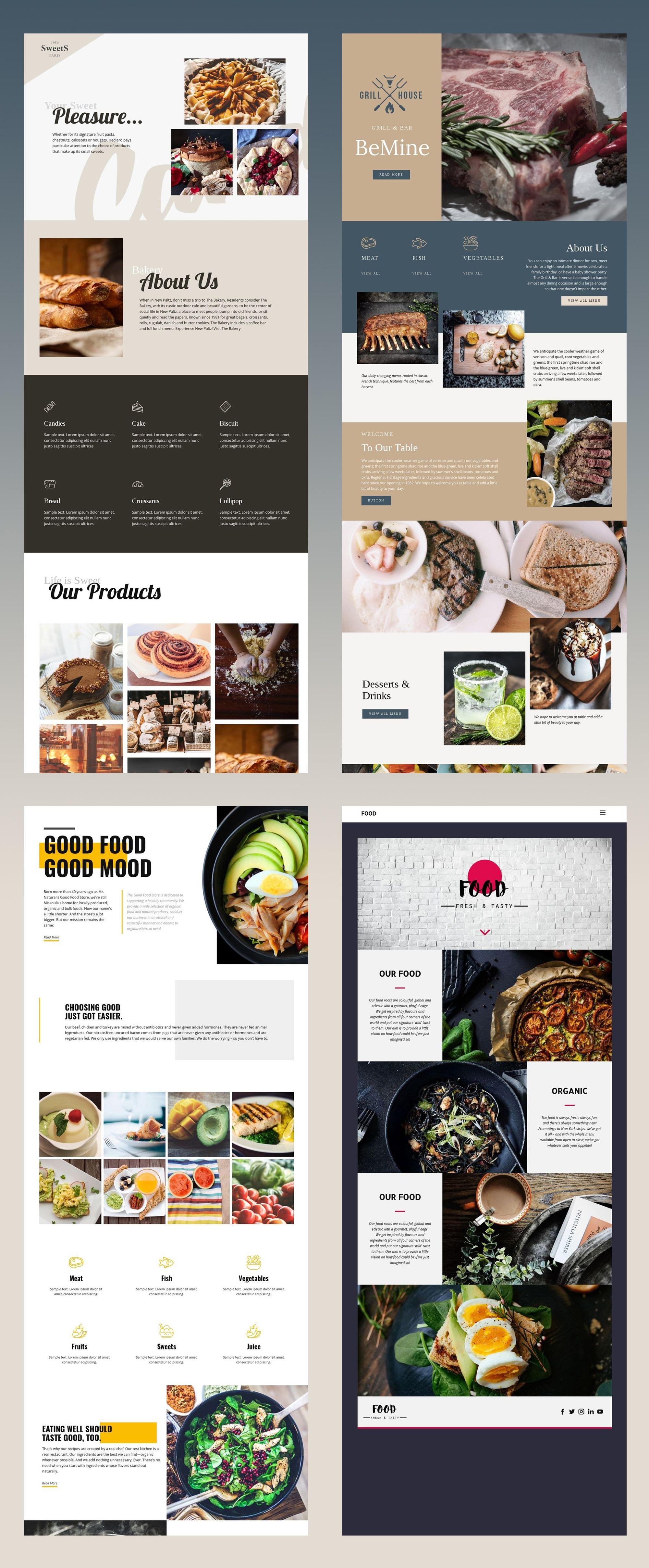 Free Templates By Nicepage Builder Food Website Layout Restaurant Website Design Food Web Design