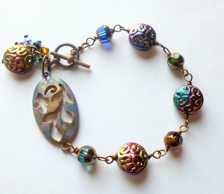 Bracelet vintage, Patina Jewelry, rustic, gypsy, vintage Jewelry