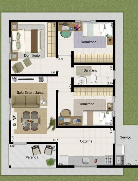 Plano de casa de 3 dormitorios en 50 metros cuadrados for Plano casa minimalista 3 dormitorios