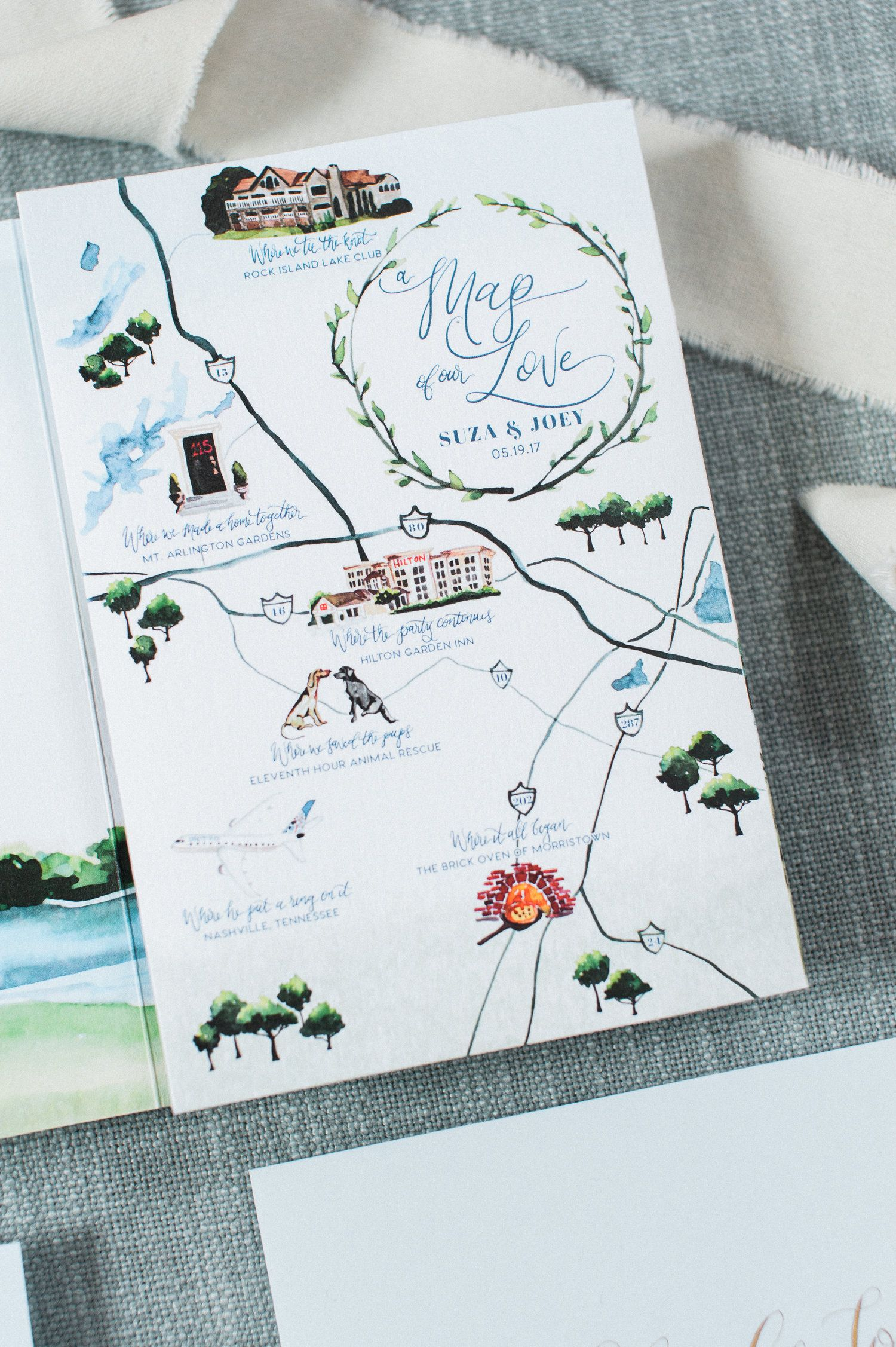 Map Of Our Love Custom Wedding Map Great Wedding Map Idea Wedding Invitations And Save The Dates By Watercolor Wedding Map Custom Wedding Map Wedding Map