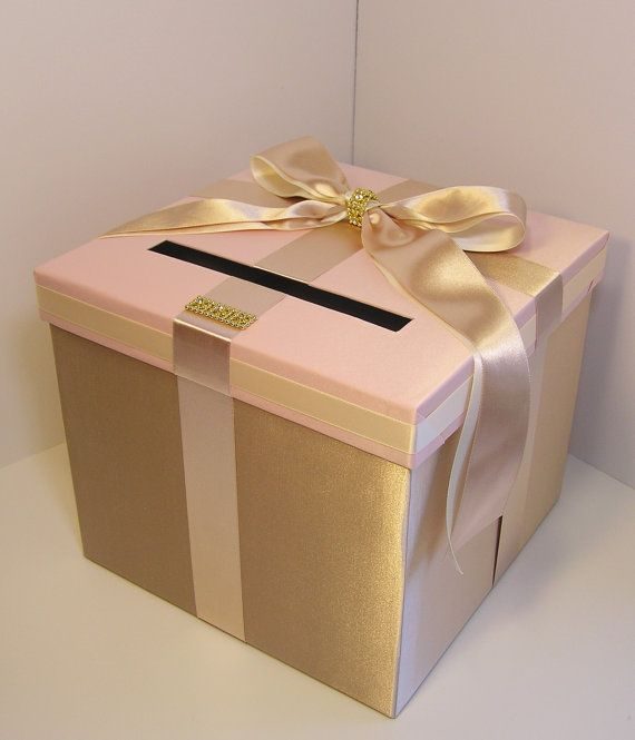 Please read shop announcement httpetsyshopbwithu wedding card box champagneblush pink and ivory gift card box solutioingenieria Gallery