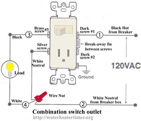 how to wire switches combination switch outlet light fixture turn rh pinterest com installing switch plug combo wiring 3 way switch with plug