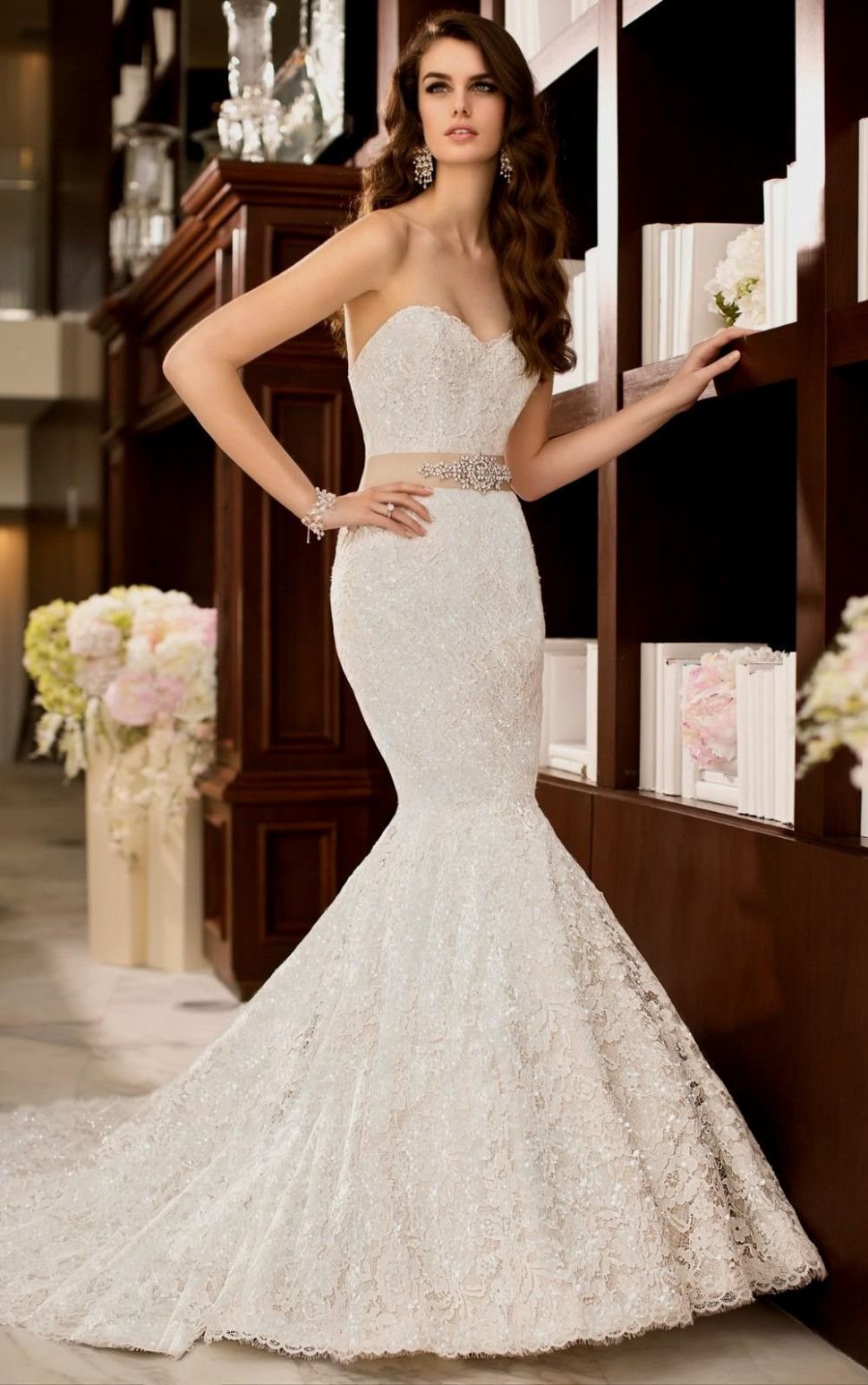 Blinged out wedding dress  sweetheart mermaid wedding dress with bling Naf Dresses in