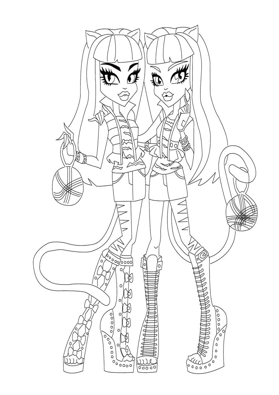 purrsephone and meowlody monster high coloring page monster high
