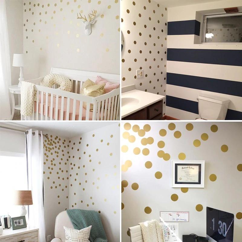 Gold Polka Dots Wall Sticker Baby Nursery Sticker Kids Home Decor DIY Sticker