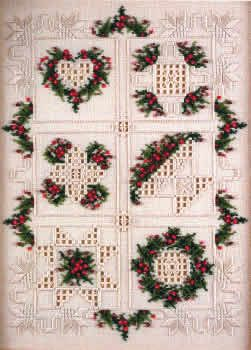 The Christmas Quilt pattern is another great design from Emie Bishop.  You can stitch it as is to create this exquisite Christmas quilt (design size 154w x 214h), a bell pull (54w x 174h), or individual ornaments (54w x 54h).  The quilt model was stitched on 32 count Cream Belfast linen (3609-222), using