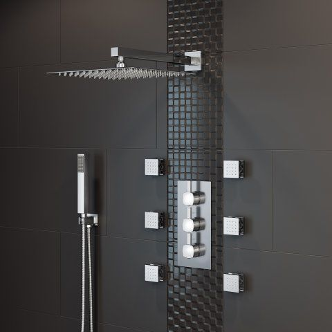 300mm Square Thermostatic Concealed Shower 6 Body Jets Handheld