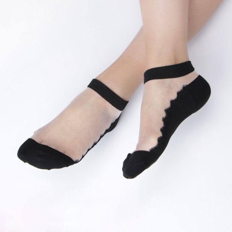 Besufy - Besufy Women Socks Solid Color Lace Low Cut Anti
