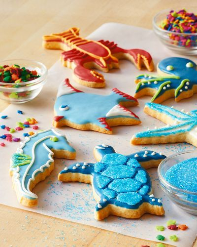 Cut-out cookies aren't just for the Holidays if you have beach shapes  My Williams Sonoma Beachcomber cookie cutters - decorating ideas.