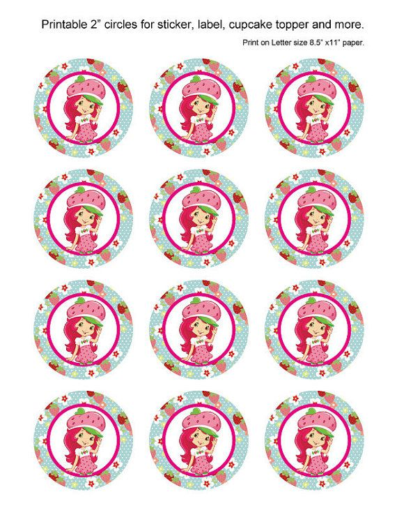 Strawberry Shortcake Printable 2 inch party circles by JanetteChiu