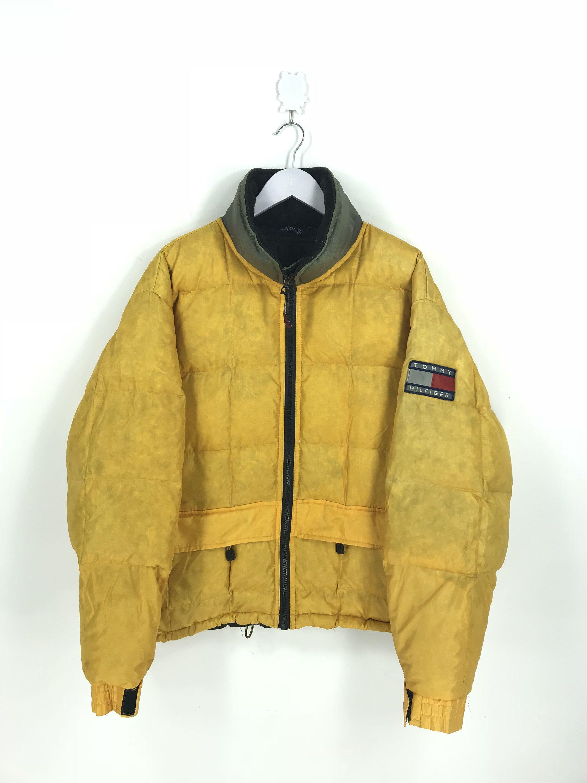 Tommy Hilfiger Puffer Jacket Warmer Medium Vintage 90s Tommy Etsy In 2020 Yellow Puffer Jacket Zipper Jacket Jackets