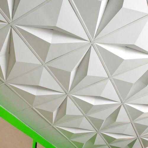 Decorative Suspended Ceiling Cardboard Tile Three Dimensional Crystal Foldscapes By Jaime Sal Faux Plafonds En Carre Plafond Suspendu Carreaux De Plafond