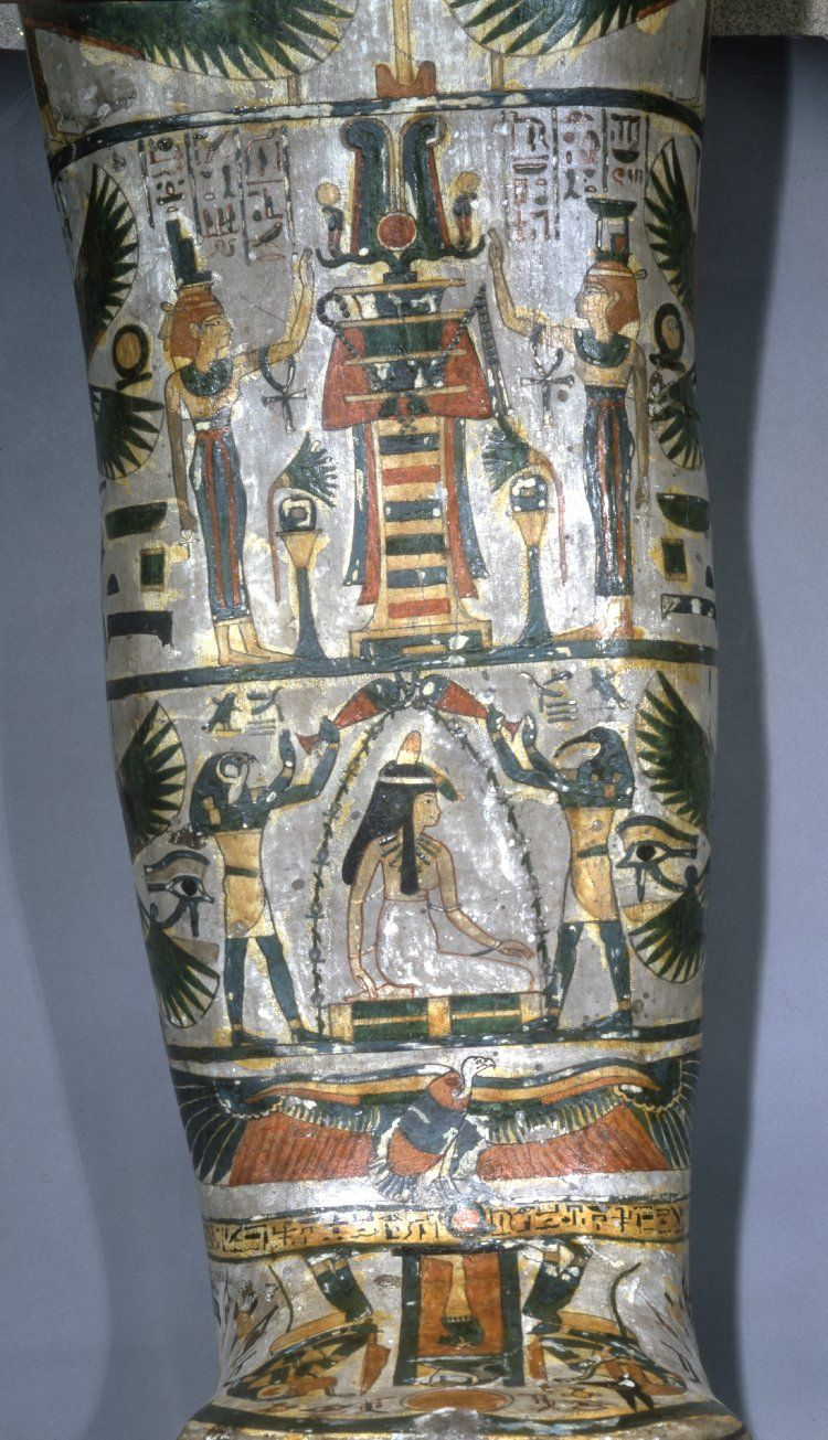 British Museum, Online Collection. Mummy of a priestess, aged 25-40, in painted cartonnage casing with a gilded face, named Tjentmutengebtiu. Skull - Mouth slightly open, all teeth apparently present. Artificial eyes inserted in the orbits. No obvious fractures. Cervical spine appears intact. Under the chin, in front of the neck, there is an amulet in the form of a bird with a human head surmounted by a winged disc. Thorax and Abdomen - Filled with bundles of linen and packing material, and…