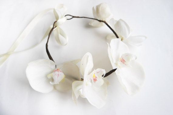 Elegant Orchid Headpiece Beach Wedding Headbands Flower Crown Wedding Bridal Hair Pieces