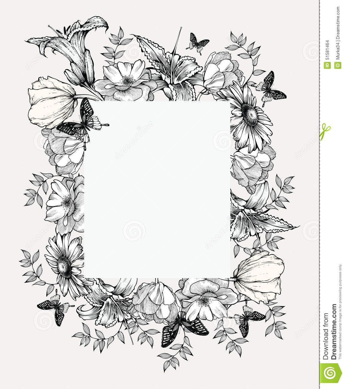 Black And White Vector Illustration Vintage Frame With Flowers