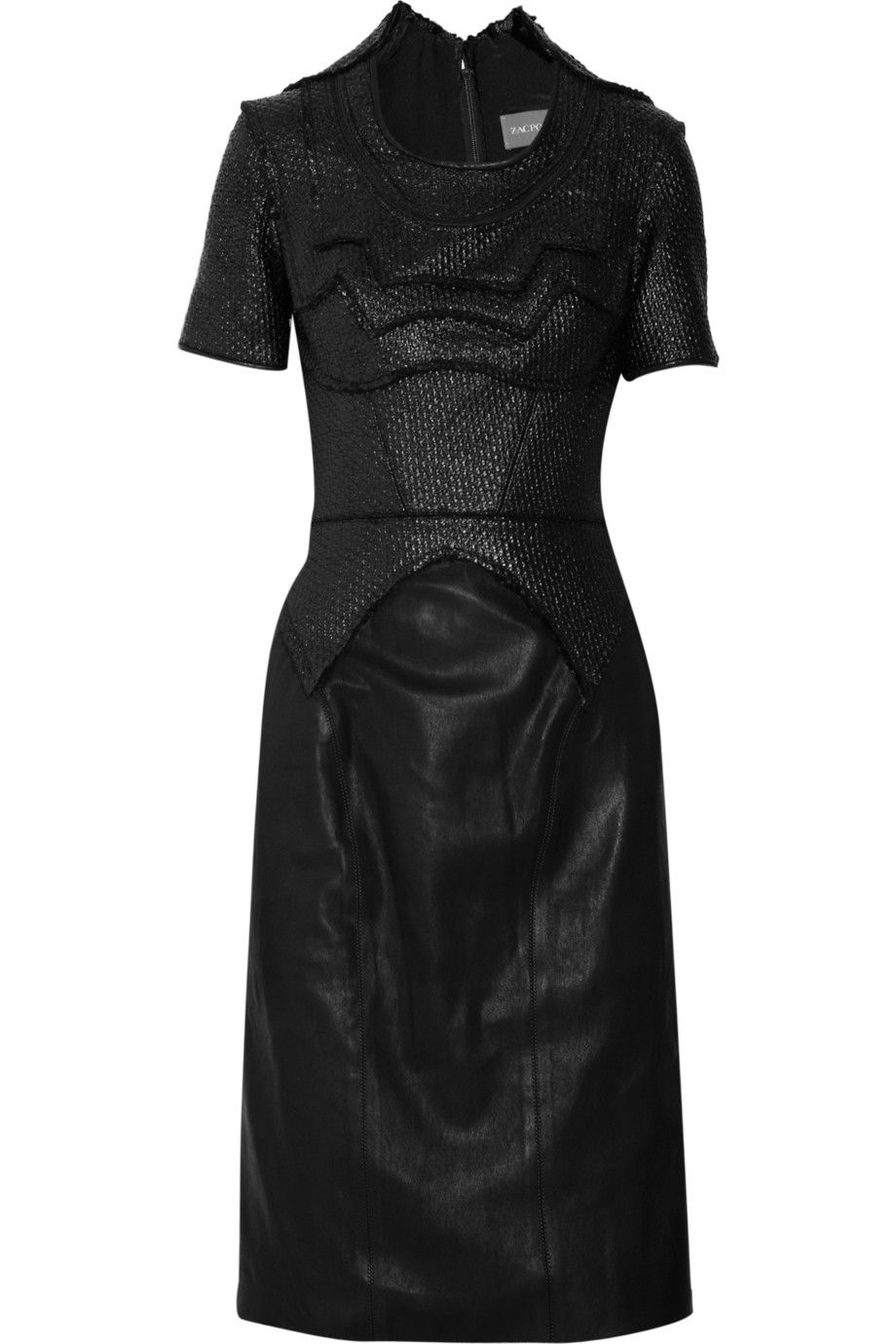 Coated wool-blend and leather dress by Zac Posen