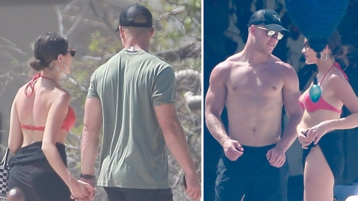 Christian Mccaffrey And Olivia Culpo Holding Hands In Mexico Vpchurchill Christian Mccaffrey Olivia Culpo Swimsuit Edition