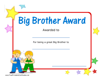 Perfect For Siblings Or For Use In The Big Brothers Big Sisters Program This Award Has A Red Border Col Big Sister Program Big Brother Big Brother Big Sister