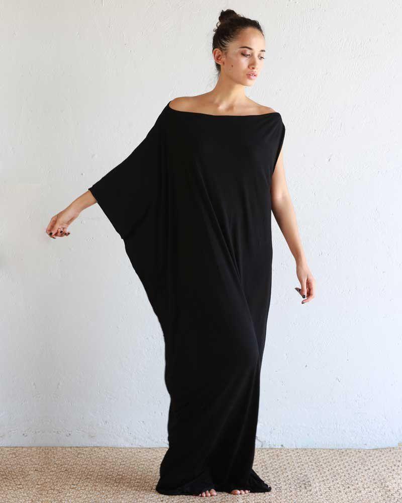 Black kaftan assymmetrical maxi dress bamboo maxis luxury and