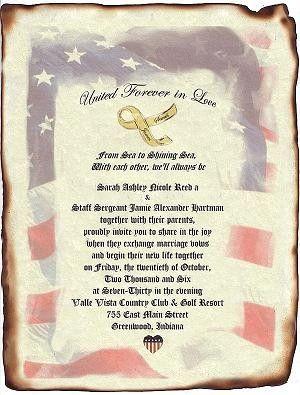 Military Wedding Scroll Invitations Patriotic Invites Theme qty 50