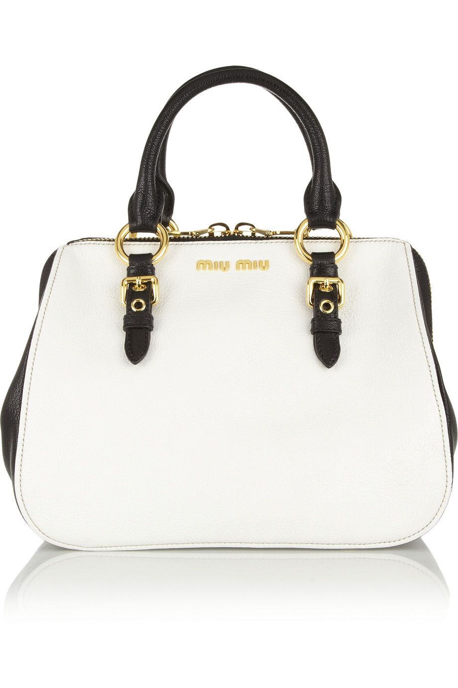 1699934c2d523 Miu Miu Madras leather tote Bolso Blanco, Moda Blanca, Bolsos Cartera,  Carteras,