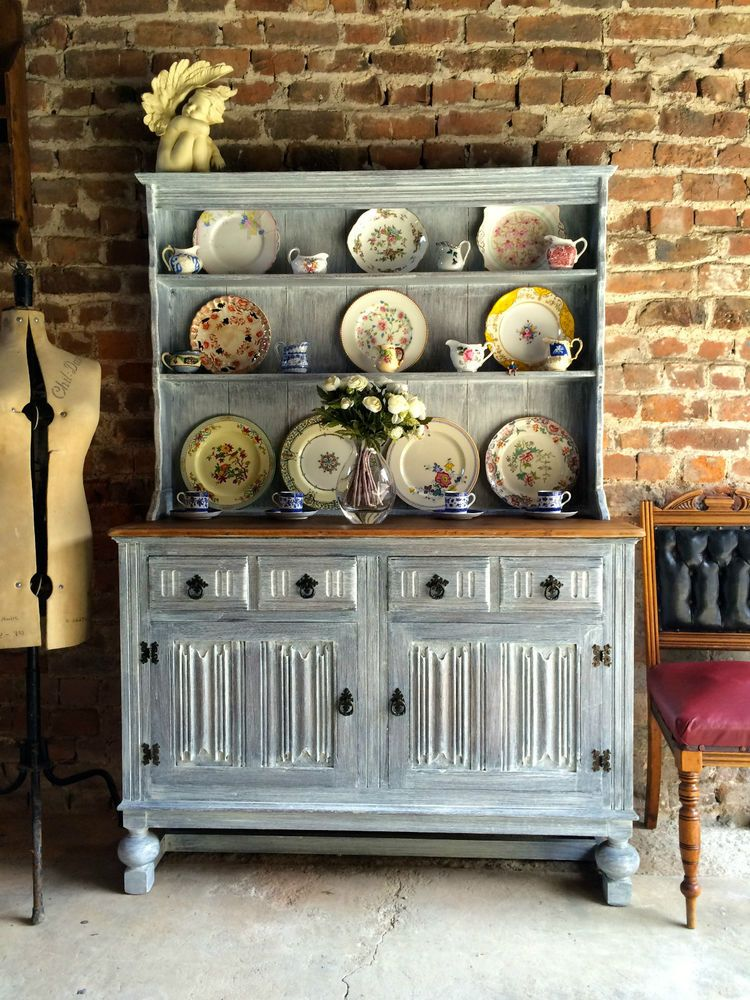 Stunning Antique Welsh Dresser Oak Shabby Chic Priory Style Distressed